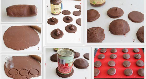 fasi di preparazione dei biscotti farciti senza glutine