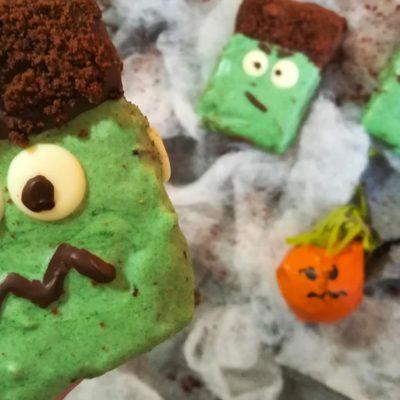 ricetta dei brownies frankenstein di halloween